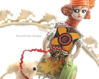 Coco & Fifi Art Doll Broken China Mixed Media Soldered Flapper Girl Art Doll Lorelie Kay Original