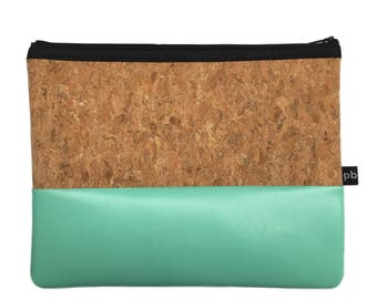 Pb_pochette Large, water and cork leather clutches, handmade, hand bag, glove compartment, door tricks