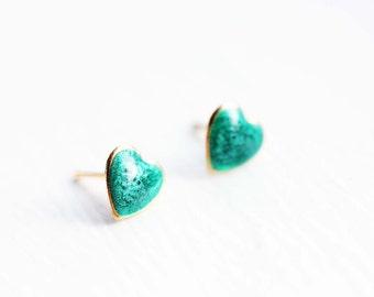 Heart Enamel Studs, Green Heart Studs, Silver Heart Studs, Enamel Studs, Gold Heart Studs, Heart Earrings, Small Heart Studs, Gold Studs