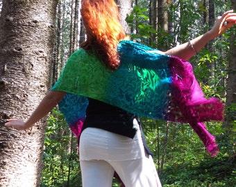 Silk velvet burnout poncho yoga wrap resort wear  costume bellydance coverup READY TO SHIP