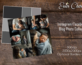 7-Rectangle Photo Digital Collage Facebook Instagram Pinterest Storyboard Template PSD Social Media Photography