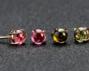 Red or Green Tourmaline 14k Rose Gold Earrings Stud Wedding Birthday Valentine's Day Mother's Day Anniversary