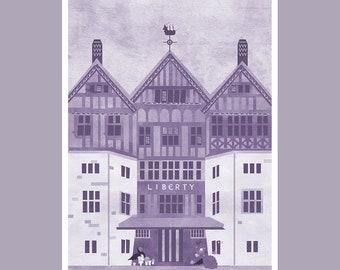 A6 Liberty London Print in Purple   Wall Art / Postcard