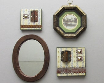 start a wall art gallery - Vintage Rustic- 4 pc collection - wall decor