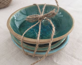 "House Warming Gift, Wedding Gift, Handmade Ceramic Bowls Set (3 bowls), Hostess gift, Home Decoration, Gift Sets - ""Sea Dreams Collection"""