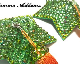 Pasties, Nipple Tassels, MADE TO ORDER, Burlesque Pasties, Dance , Exotic Dance wear, Nipple Jewelry, Star Pasties, Green Pasties, Burlesque