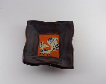 Whimsical Fox Ceramic Plate Catchall