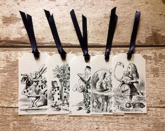 Five Alice in Wonderland Gift Tags with Black Ribbon