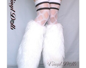 Cyber Goth WHITE fuzzy fluffy FURRY LEG WARMERS fluffies BOOT COVERS rave