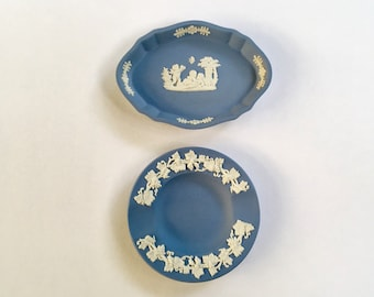 Vintage Pair of Blue and White Wedgwood Jasperware Pin Dishes, Ring Dishes, Change Dishes, Desk Accessories, Made in England