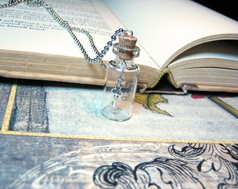 Key in a Bottle Necklace Charm - 2ml Glass Vial Pendant - Antique Silver Dangling Key