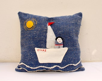 small boat and doll  handwoven pillow toy