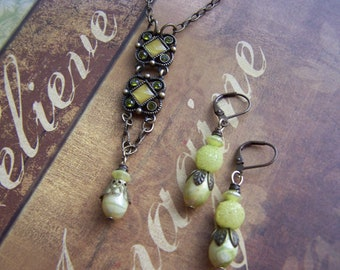 Upcycled Vintage Soft Green  and Brown Necklace and Earring Set