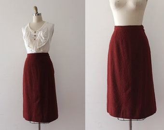vintage 1950s wool skirt // 50s textured skirt
