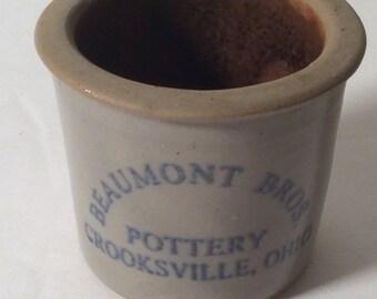 Vintage Miniature Pottery Crock by Beaumont Bros
