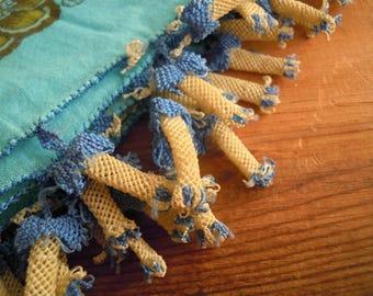 vintage turkish scarf, blue cotton oya scarf