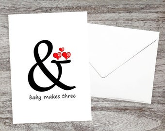 Baby Congratulations Card-Cute Baby Card-Cards for New Parents Mother-Baby Expecting Card-Pregnant Cards- And Baby Makes Three with Hearts