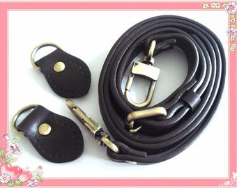 118cm bag belt bag belt real leather connector coffee