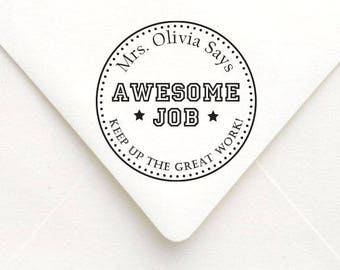 Awesome Job Teacher Stamp, Teacher Gift Stamp, Personalized Name Teacher Stamp, Custom Teacher Stamp, Teacher Rubber Stamp