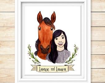 Horse Portrait Illustration Horse Lover Gift Equine Painting Equestrian Gift Illustration Illustrated Horse Painting Pony Lover Gift