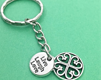 live laugh love keychain, live laugh love charm, word charm, keychain, keychain quote, motivational words,filigree, live laugh love,her gift