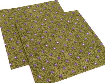 Green Napkins, French Napkins, Lavender on Avocado