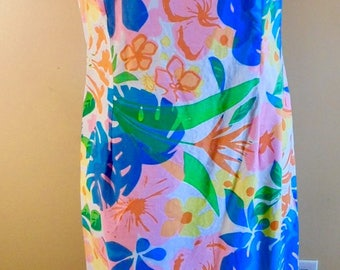 Vintage Maxi Dress by Beachcomber Made in Jamaica Cotton Island Floral Maxi Dress Tiki Party 60s Flower Power