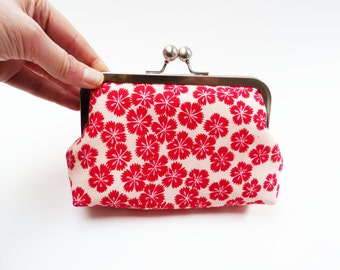 Clutch bag, red and white floral, vintage Japanese kimono fabric, evening purse