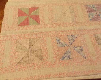 Sweet Shabby Cutter Quilt Runner Table Cover 20 x 42 Pinwheel Pinks Flowers Vintage Fabrics Hand Stitching, Cottage Decor Springtime