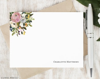 Personalized Pretty Stationary Set / Flat Personalized Notecard / Stationery Note Card Set / Painted Watercolor Flower // AMELIA FLORALS I