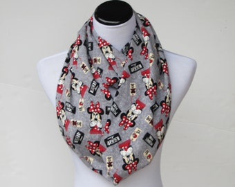 Minnie scarf Gray red scarf, mouse scarf, infinity scarf for minnie lovers loop scarf cute mouse girl scarf - matching scarf for mom & girl