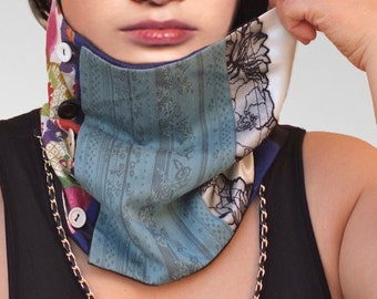 Womens cowl patched Neckwarmer/womens scarf in silk,cotton,lace/ blue beige black /gift ideas