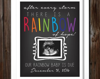Custom Printable Rainbow Baby Pregnancy Announcement Photo Prop Poster, Ultrasound, Sonogram