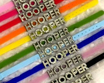 HOOPER Bling Bracelet - Hula Hoop Gemstone Silicone Reminder - rainbow pink teal purple silver