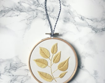 Plant Embroidery Hoop- Mustard, Leaf Embroidery, Embroidery Hoop Art, Botanical Embroidery Hoop