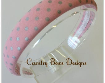 Coral Pink with Metallic Silver Dots Headband-Cotton Fabric Headband-Padded Headband-Woman /Teen /Big Girl Headband