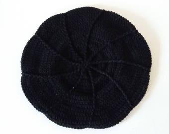 Crochet black beret girl of cotton 50 cm/19 inch