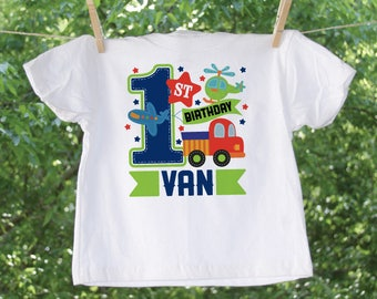Cars and Planes Bright and Colorful 1st Birthday Shirt with name personalization