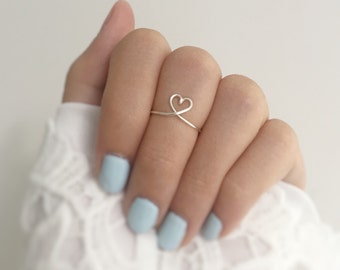 Adjustable Heart Knuckle Ring,Heart midi Ring,love ring,boho jewelry,gift for her,handmade jewelry,tarnish resistant,heart rings,silver