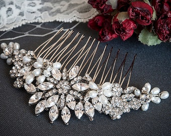 Wedding Crystal Hair Comb, Freshwater Pearl and Rhinestone Bridal Comb, Flower & Leaf Bridal Hair Accessories, Oval Crystal Comb, ALYSON