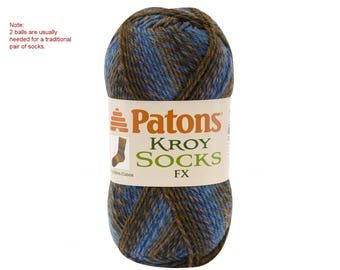 CASUAL COLORS. Patons Kroy FX Self Striping Wool Sock yarn. Wool blend, super fine Yarn. Washable wool. Blue & Copper Colors. Discontinued <