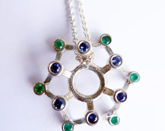 The Nature Wheel. Unique Sterling Silver Pendant Necklace. Handmade Geometry Unisex Design. Set With Blue Sapphire And Green Onyx. Recycled.