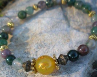 BRACELET YOGA gradient green 6 mm and Tibetan yellow Jade