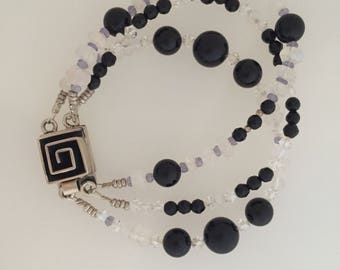 Onyx and moonstone bracelet