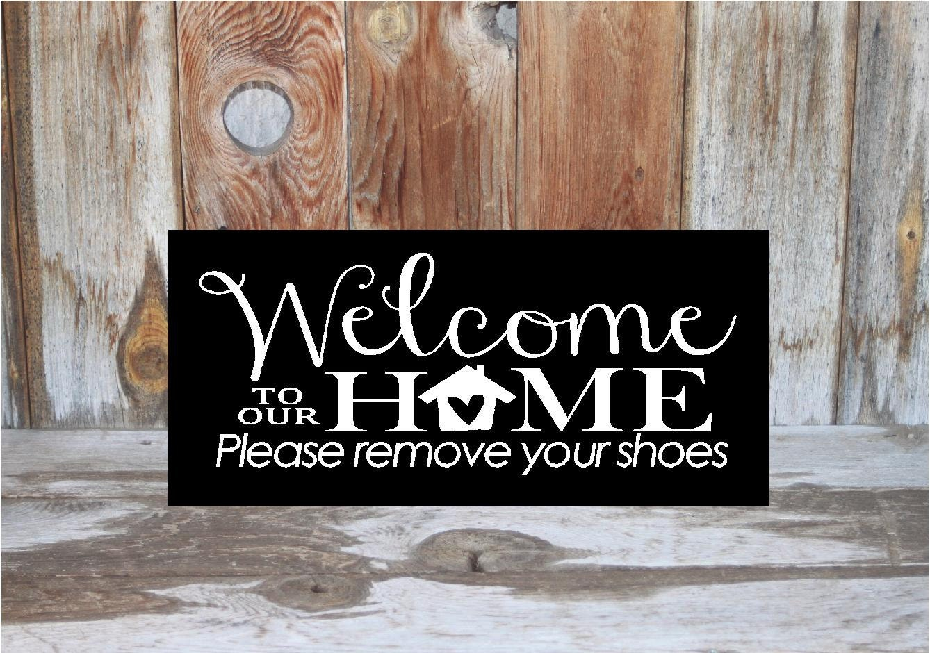 Welcome to our home please remove your shoes wood sign for zoom rubansaba