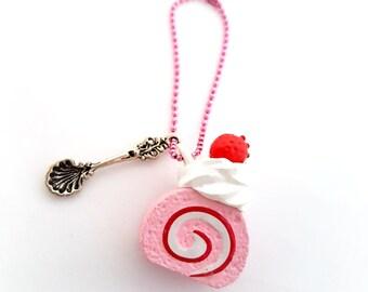 Strawberry cake planner charm, kawaii miniature food phone charm