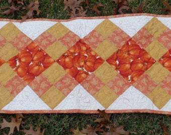 Pumpkin Quilted Table Runner Fall Autumn Harvest Orange Gold