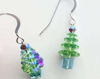 Christmas Tree Earrings, Sterling Silver Earrings, green Swarovski Crystal, Swarovski Earrings, Christmas Jewellery, Christmas Earrings