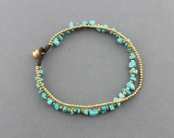 Turquiose Brass Chain Anklet