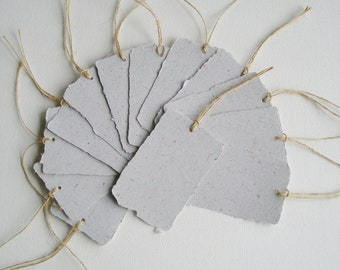 Recycled Paper with Llama Fibre Tags. 12 Gift Tags / Swing Tags with Deckle Edge for Eco Friendly Gifts